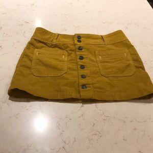 We The Free mustard corduroy mini skirt SZ 25